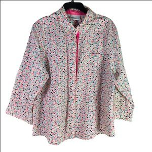 Alfred Dunner Floral Button Down Blouse Size 18